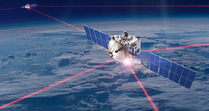 A sketch shows how lasers are used to communicate between satellites and between ground stations. (Image credit: Mynaric)