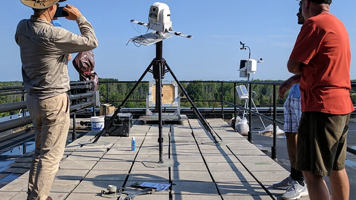 The Air Force Office of Scientific Research (AFOSR) funded a Rochester Institute of Technology (RIT) project to utilize hyperspectral video imaging systems for vehicle and pedestrian tracking. The project will use the hyperspectral video system shown above, which was developed by associate professor and Frederick and Anna B. Wiedman Chair Charles Bachmann, left.
