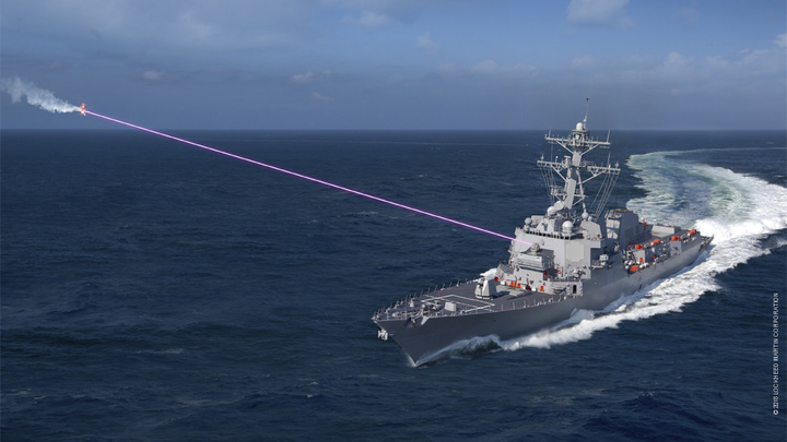 FIGURE 1. A conceptual image shows the HELIOS laser installed on a Navy destroyer, shooting down a drone. (Courtesy of Lockheed Martin)