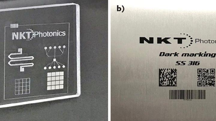 FIGURE 1. Glass marked and engraved for lab-on-chip devices (a) and stainless steel marked with permanent, high-contrast, high-resolution graphics (b) were both accomplished using an Origami ultrashort-pulsed laser. (Courtesy of Optek Systems)