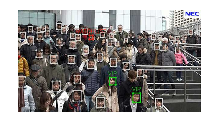 A promotional picture shows NEC's NeoFace facial recognition technology.
