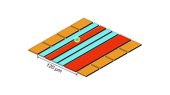"""A diagram shows NIST's ion trap used for reversible """"quantum squeezing"""" to amplify and measure ion motion. The ion (white ball) is confined 30 microns above the trap surface by voltages applied to the eight gold electrodes and the two red electrodes. Squeezing--that reduces the uncertainty of motion measurements--is achieved by applying a specific signal to the red electrodes. The ion is moved by applying another type of signal to one of the gold electrodes. Then the squeezing is reversed, and the blue electrodes generate magnetic fields used to decode the amplified motion measurements."""
