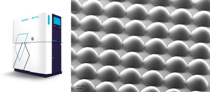 Microlens array (right) fabricated by Nanoscribe's Quantum X (left).