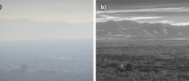 Images of Utah's Salt Lake Valley captured in visible light (left) and shortwave infrared (SWIR; right) illustrate how SWIR imaging can cut through haze.