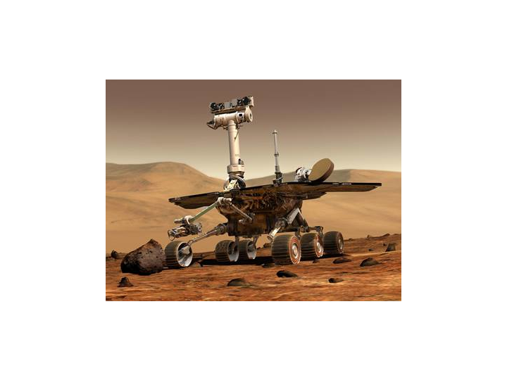 An artist's concept shows a rover on Mars