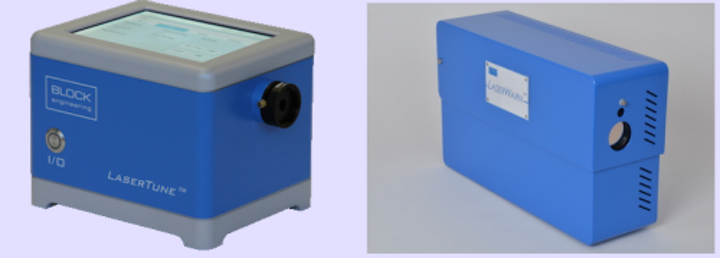 The LaserTune (left), a packaged QCL by Block Engineering, is the light source in the company's LaserWarn 'trip-wire' open-path gas-sensing system (right).