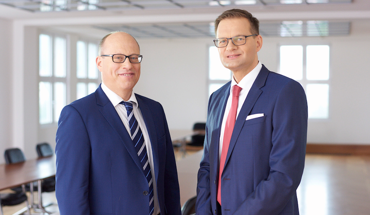 Jenoptik's CFO Hans-Dieter Schumacher (left), and its president and CEO Dr. Stefan Traeger (right).
