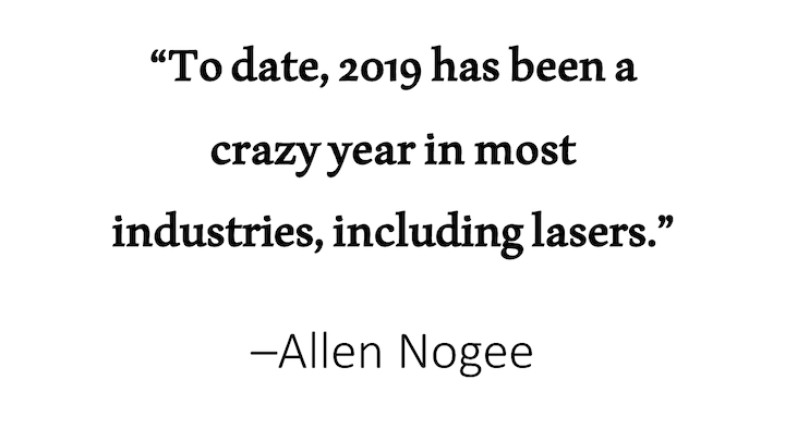 Laser Markets Research president Allen Nogee provides an update of the laser markets for the summer, in advance of his more exhaustive quantitative review that will appear in the January 2020 issue of Laser Focus World magazine.